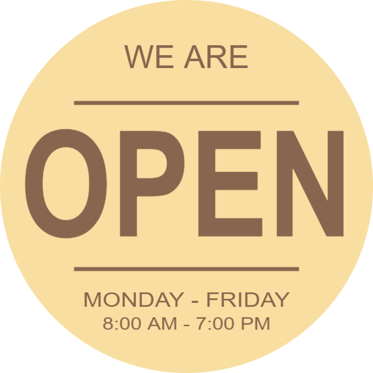 Round wooden opening hours sign