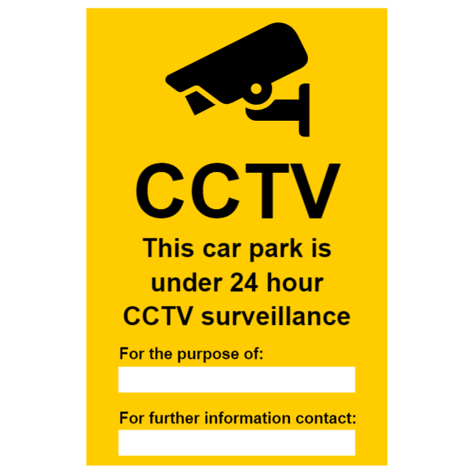 CCTV sign for car park, with two text boxes