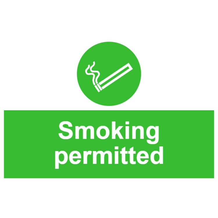 Smoking permitted sign 1