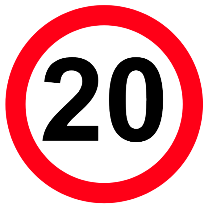 Maximum speed limit of 20 miles per hour sign