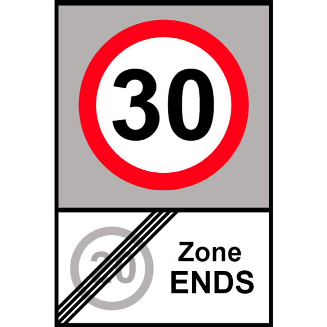 End of 20 miles per hour zone and start of 30 miles per hour zone sign