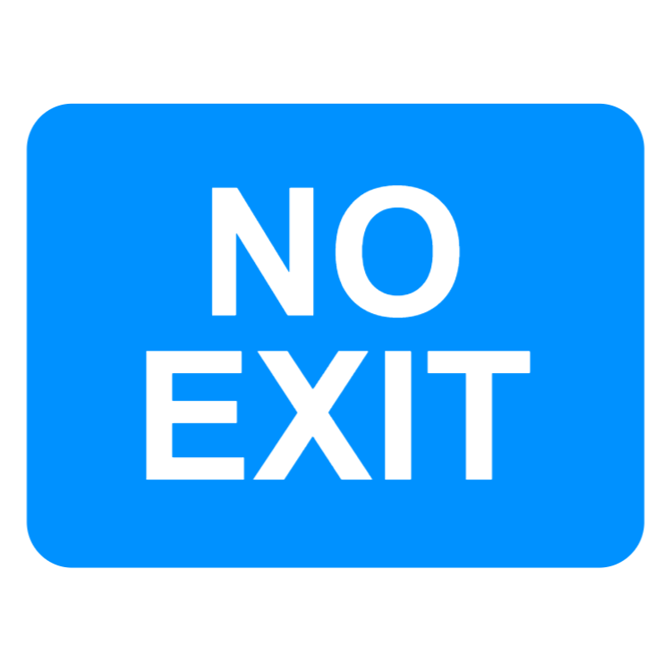 Exit from a car park, private access road or property from a public road not allowed sign