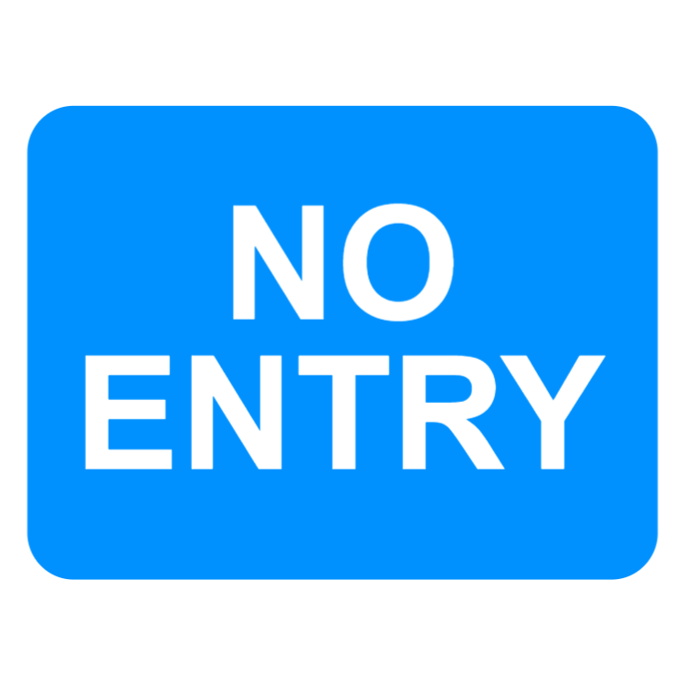 Entry to a car park, private access road or property from a public road not allowed sign