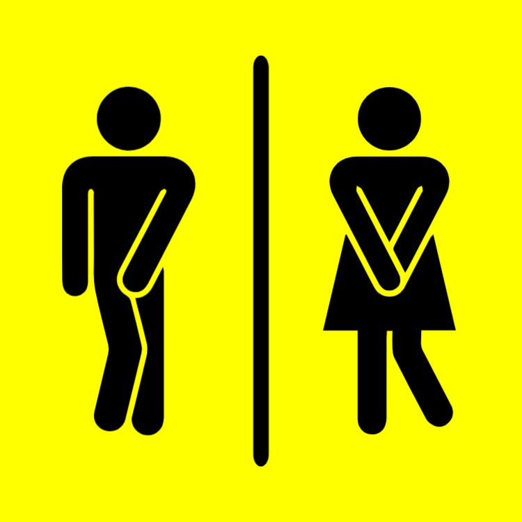 Yellow toilet sign