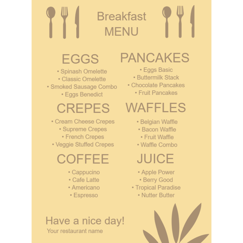Breakfast menus