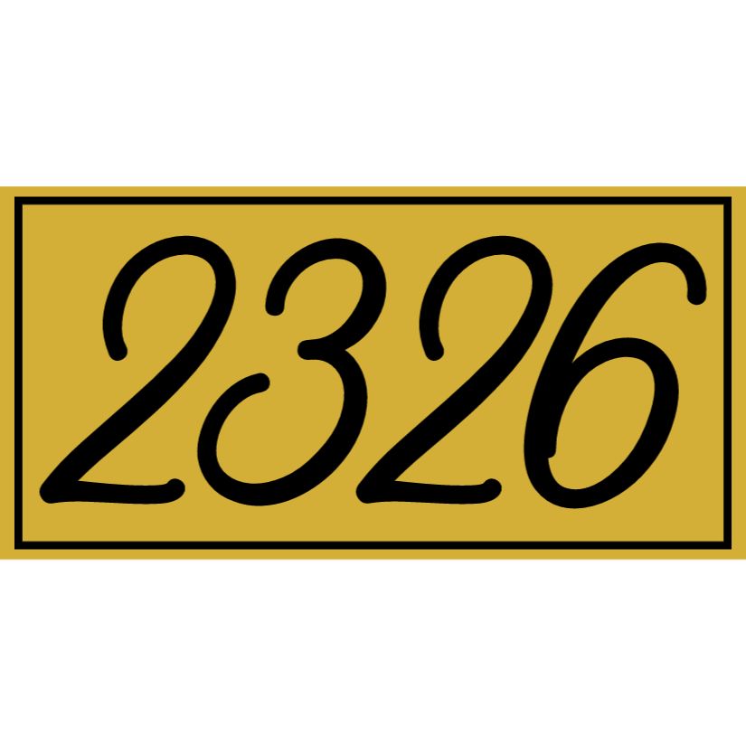 Gold house number sign