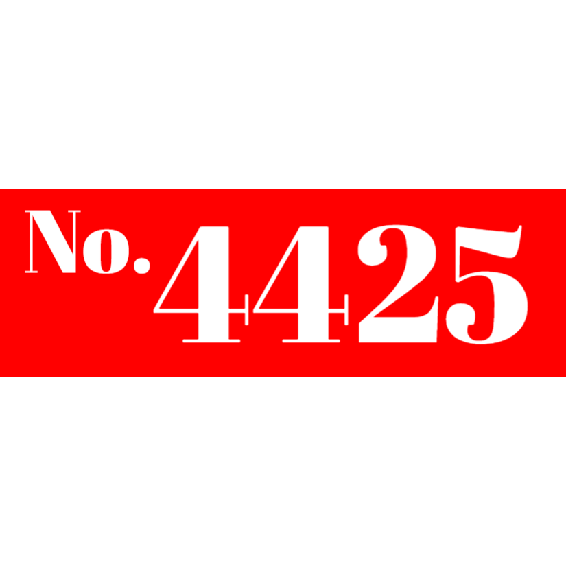 Red house number sign
