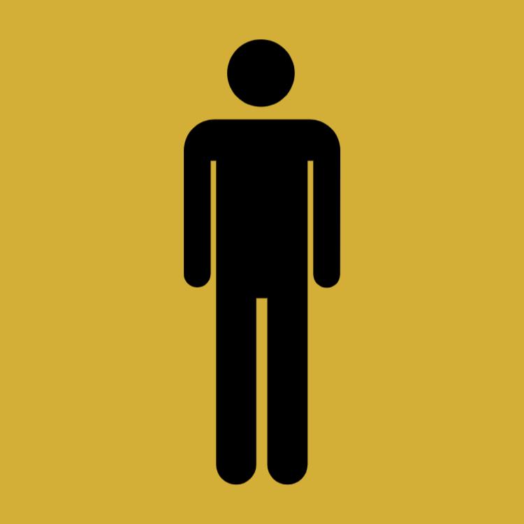 Gold toilet sign - men