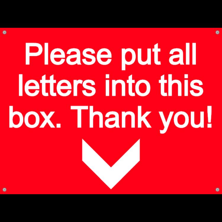Letterbox plate - please put letters
