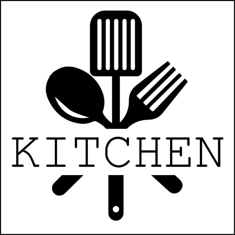 Black and white kitchen sign