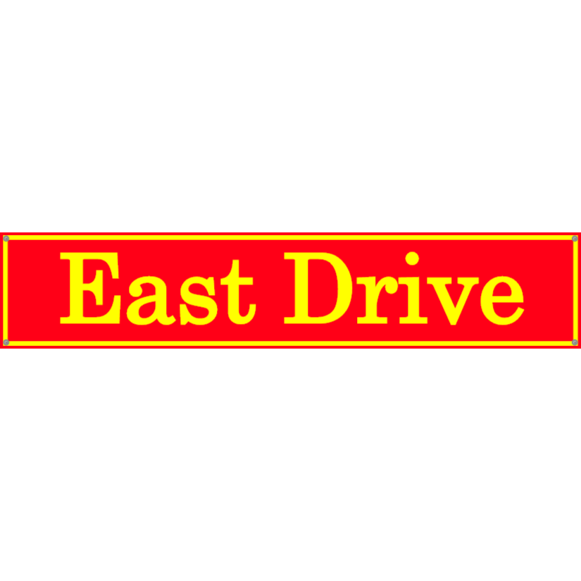 Red and yellow street name sign