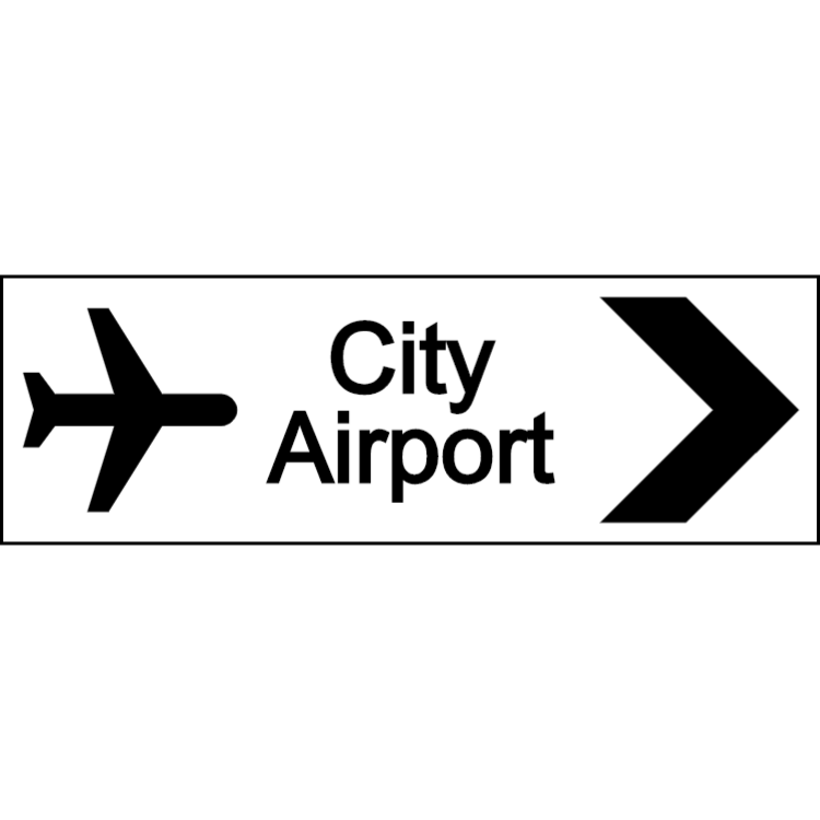 City airport sign