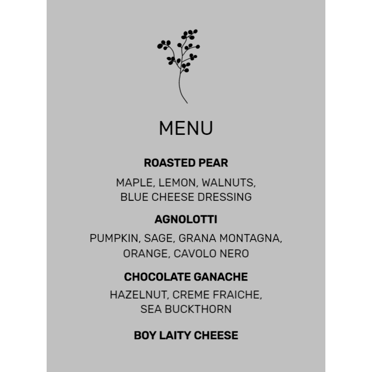 Silver menu