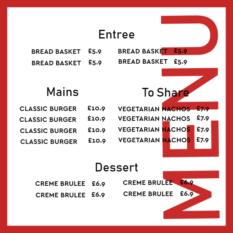 Menu with red details