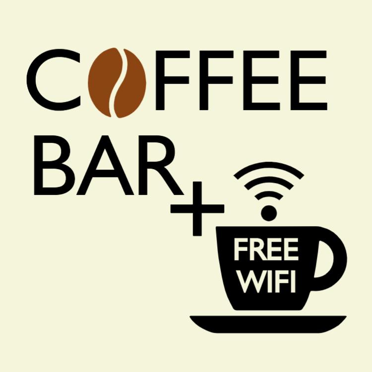 Cofee bar and free wifi sign
