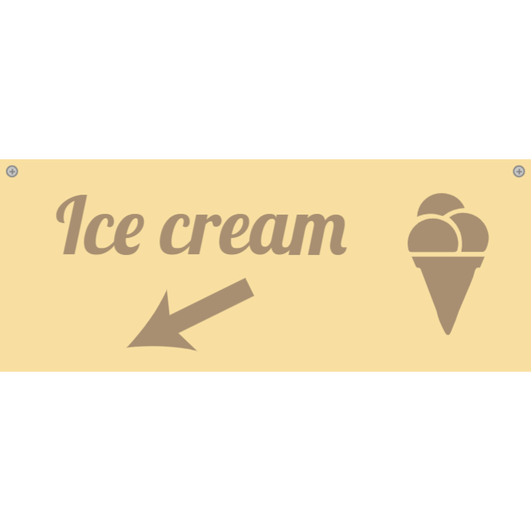 Wooden ice cream category sign