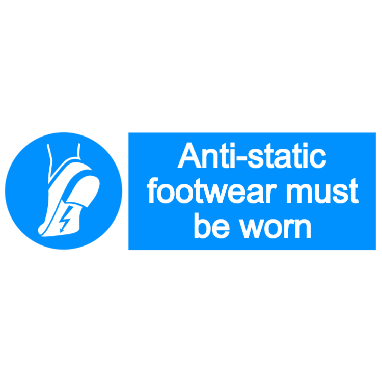 Anti-static footwear must be worn - landscape sign
