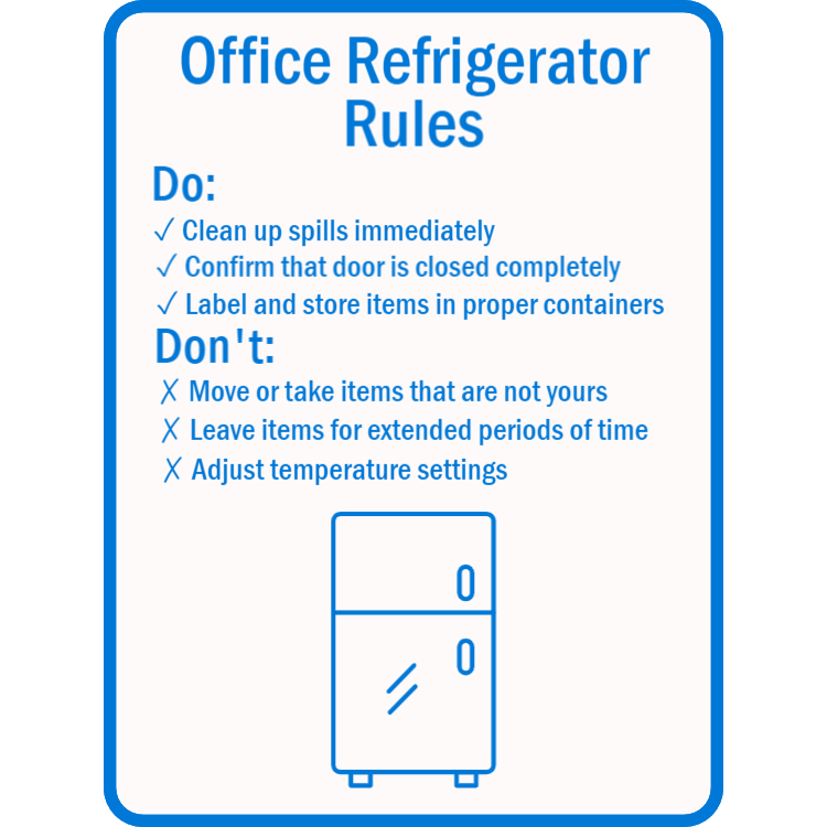 Office refrigerator rules sign