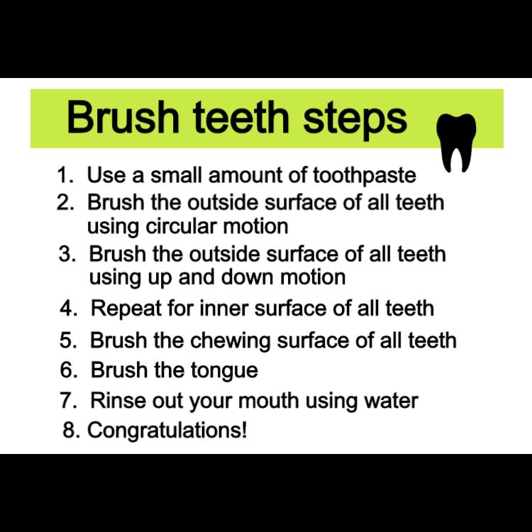 Brush teeth steps sign