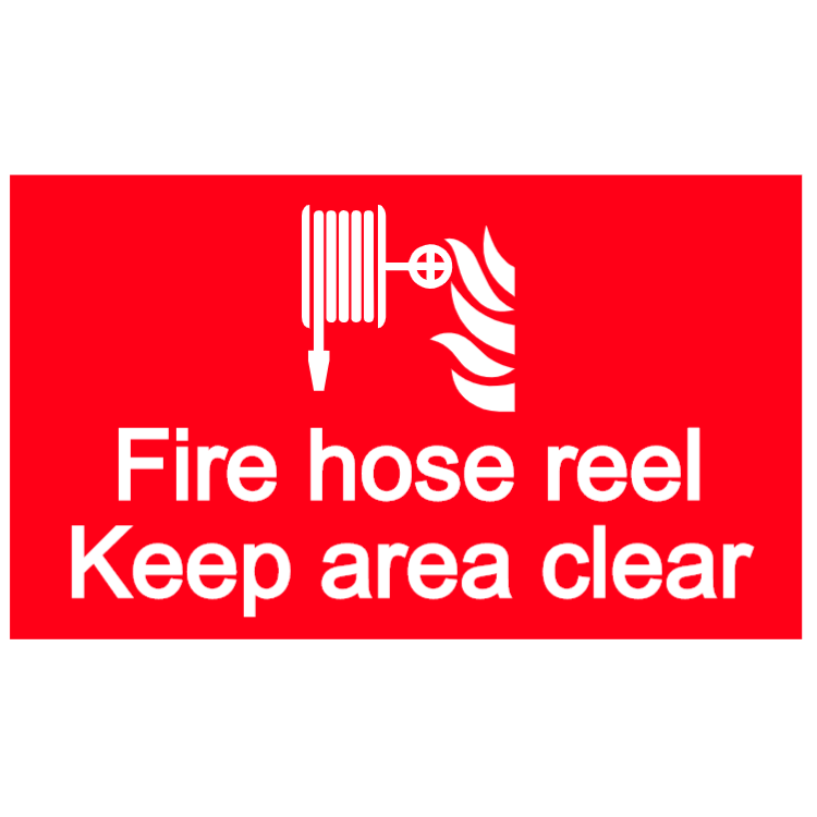 Fire hose reel - keep area clear sign