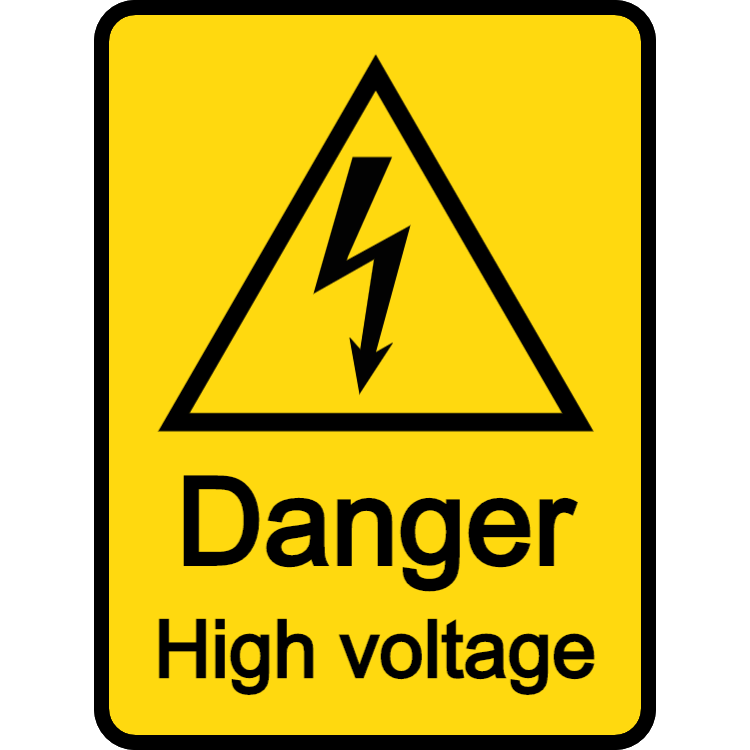 Danger - high voltage sticker - yellow