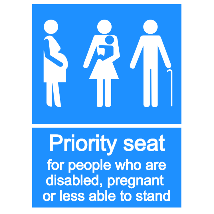 Priority seat - portrait sticker