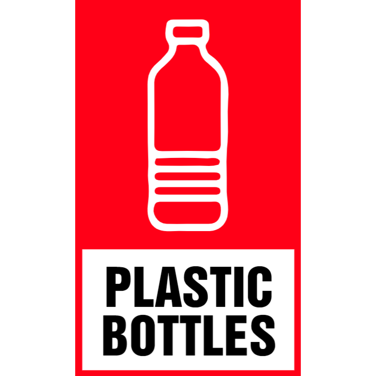 Red plastic bottles sticker