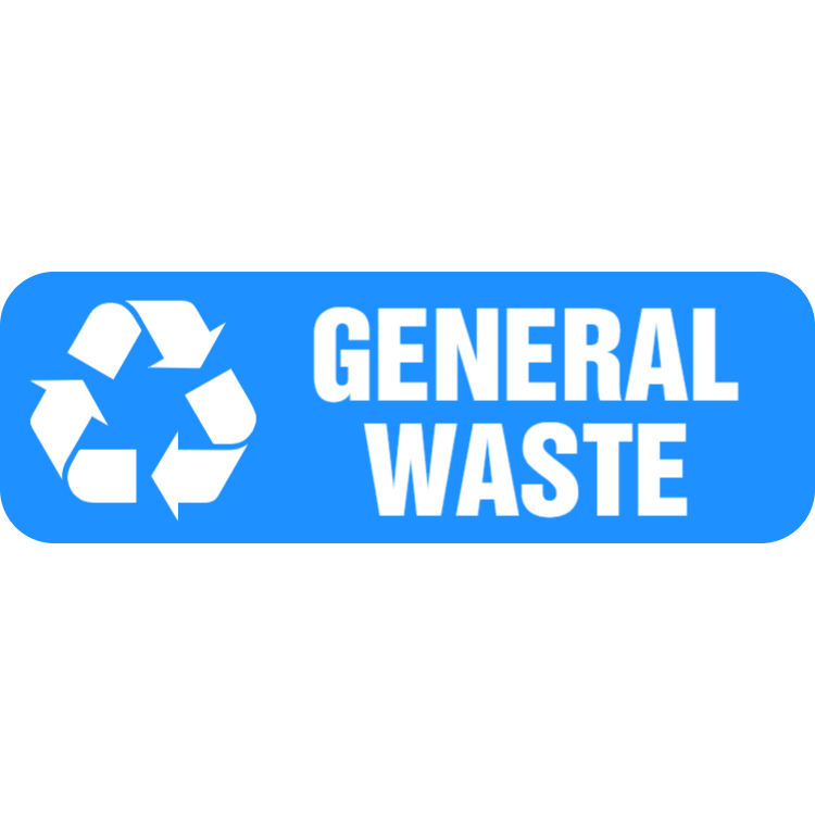 Light blue general waste landscape sticker