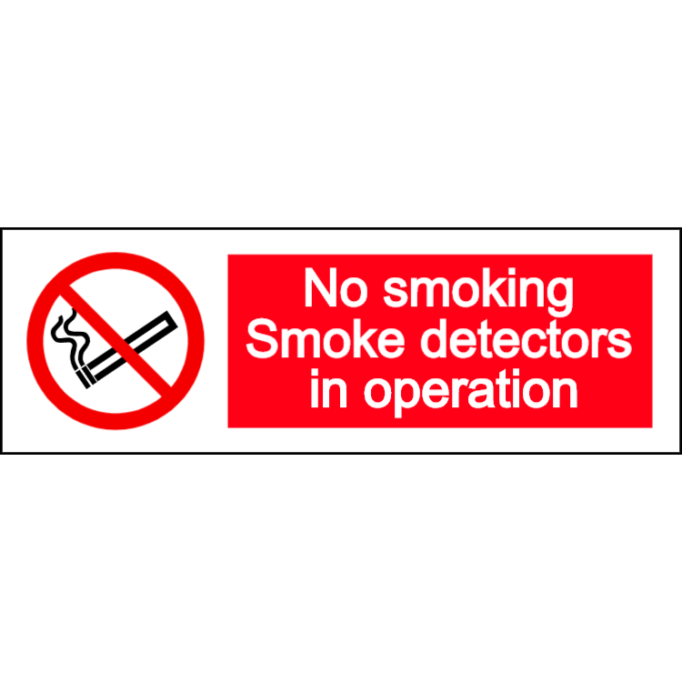 No smoking - smoke detectors in operation - landscape sign