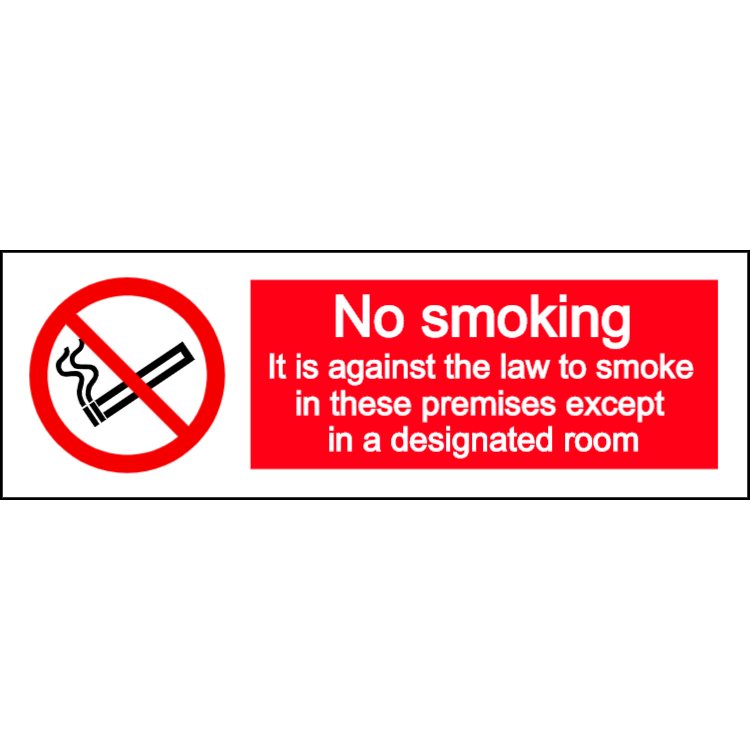 No smoking except in designated room - landscape sign