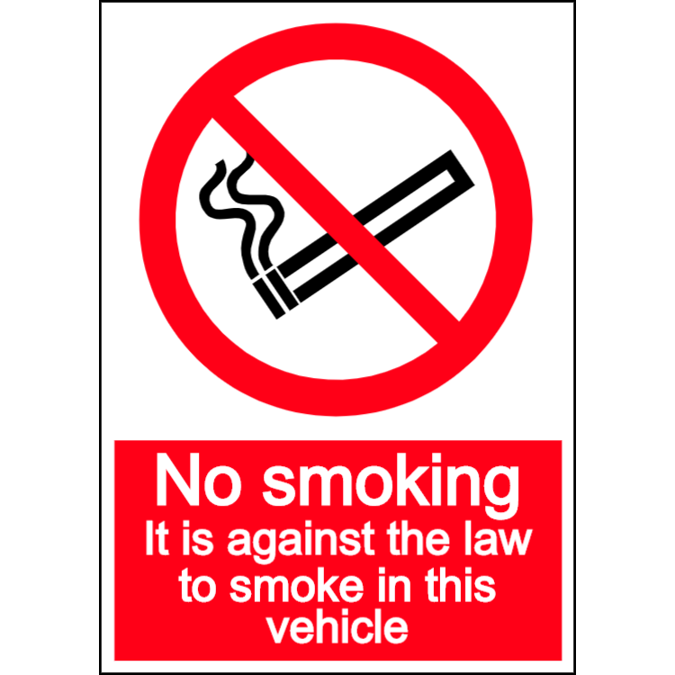 No smoking in vehicle - portrait sign