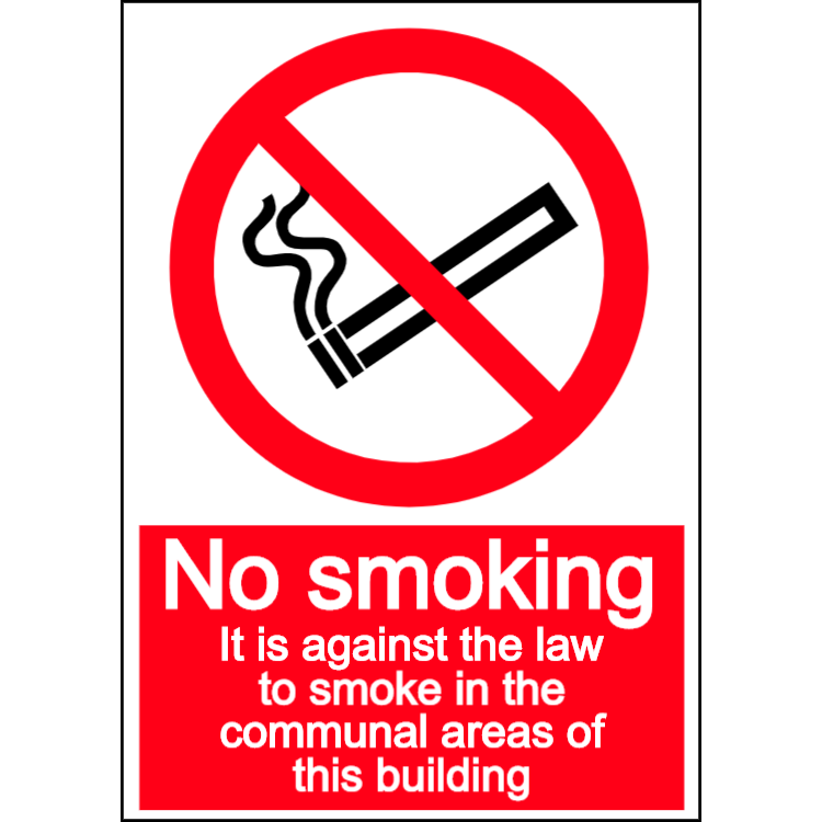 No smoking in communal area - portrait sign