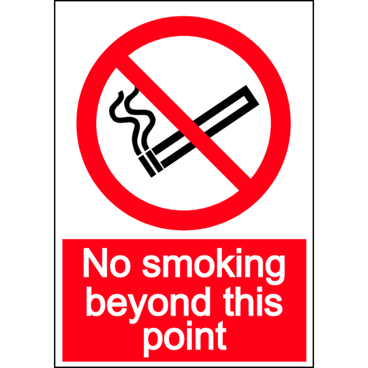 No smoking - beyond this point - portrait sign