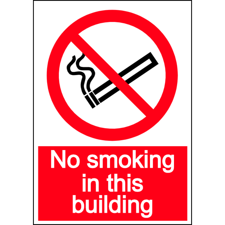 No smoking in this building - portrait sign