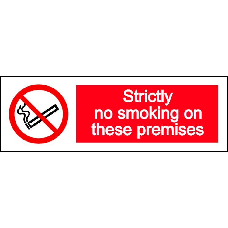 Strictly no smoking on these premises - landscape sign