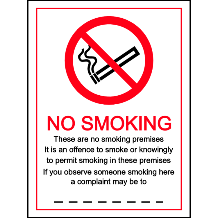 No smoking- a complaint may be made to - portrait sign