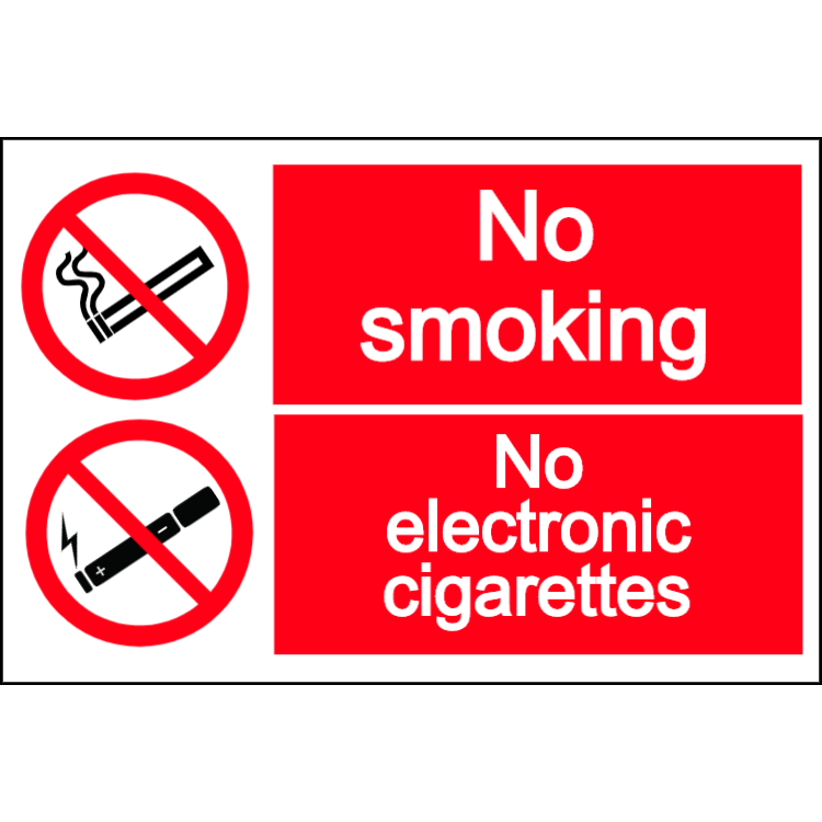 No smoking - no electronic cigarettes - landscape sign
