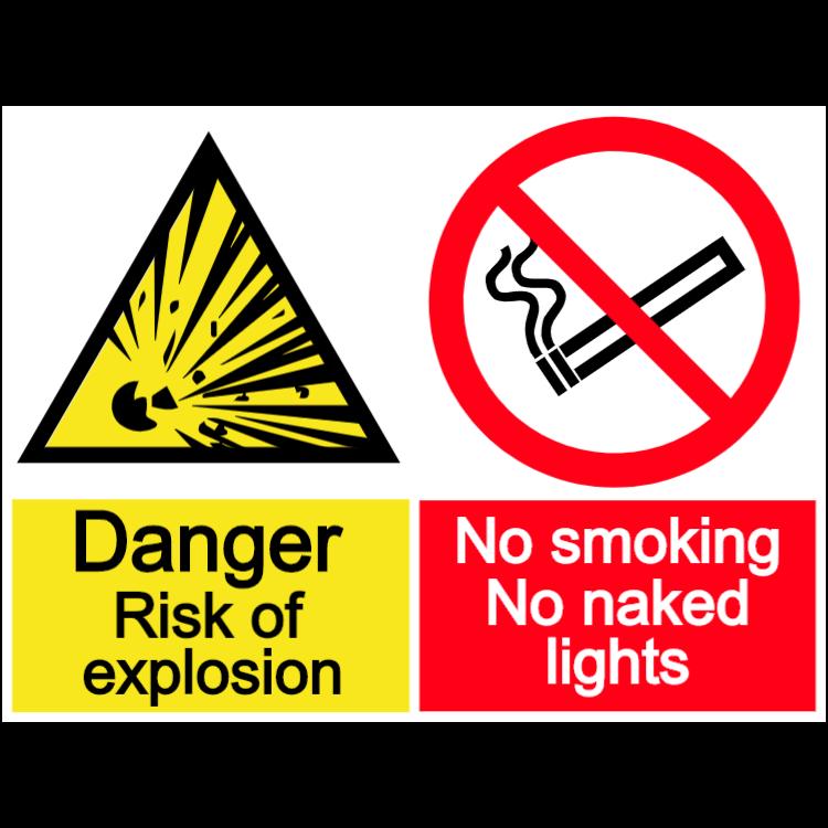 No smoking - risk of explosion - landscape sign