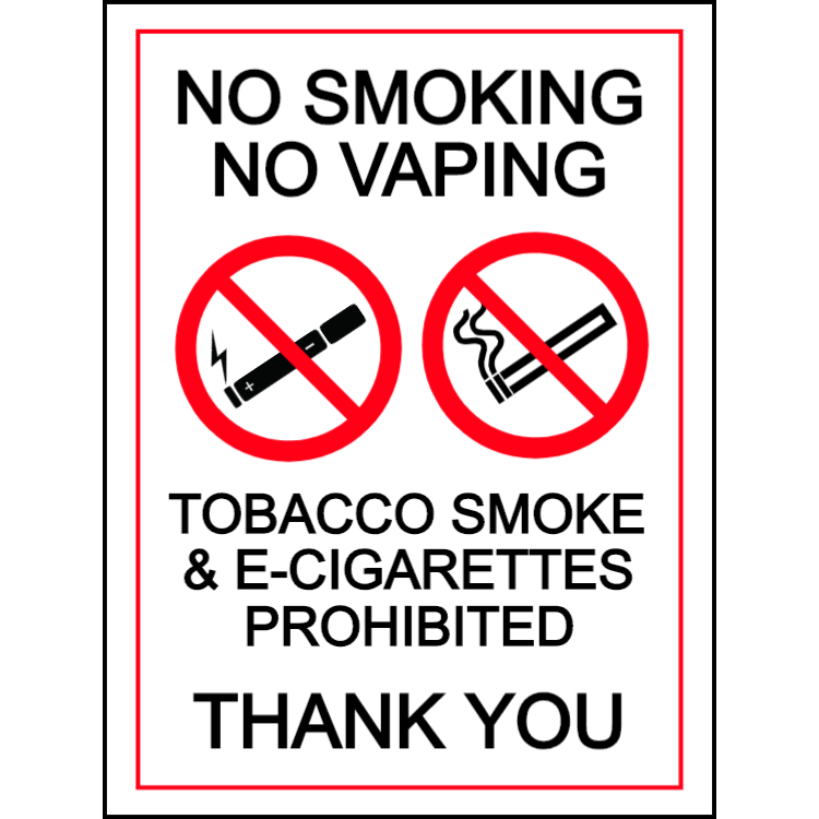 No smoking, no vaping - tobacco smoke & e-cigarettes prohibited - portrait sign