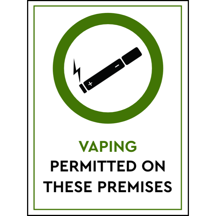 Vaping permitted on these premises - portrait sign