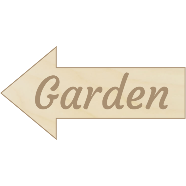 Wooden arrow garden sign