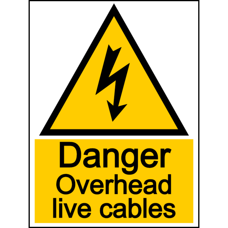 Danger - overheard live cables sign