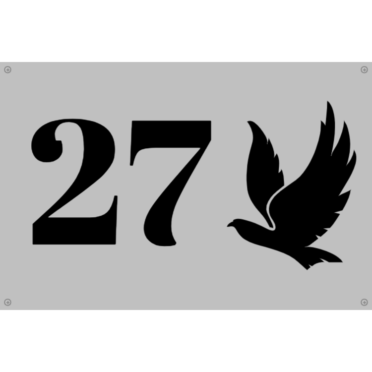Silver house number sign with bird