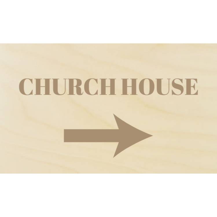 Wooden church house sign