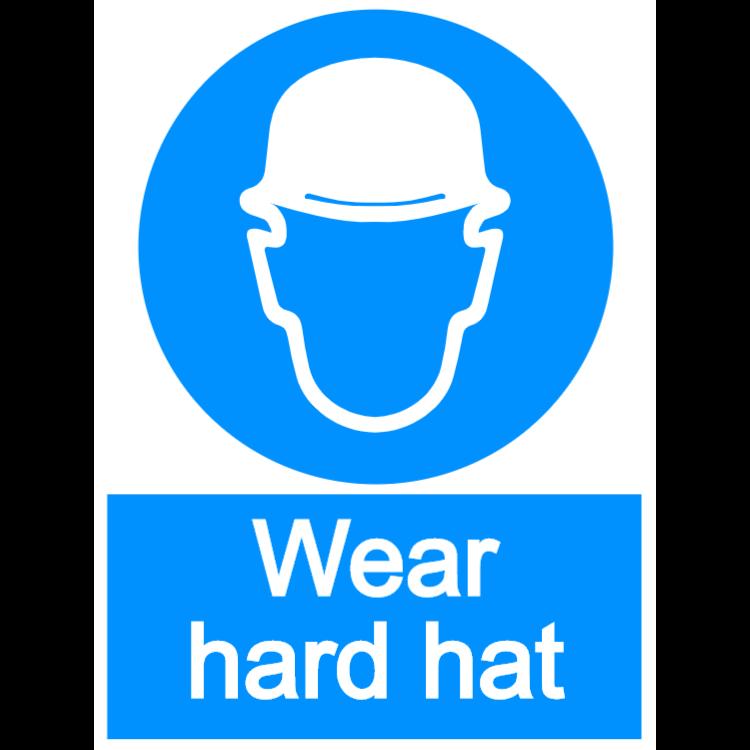Wear hard hat - portrait sign