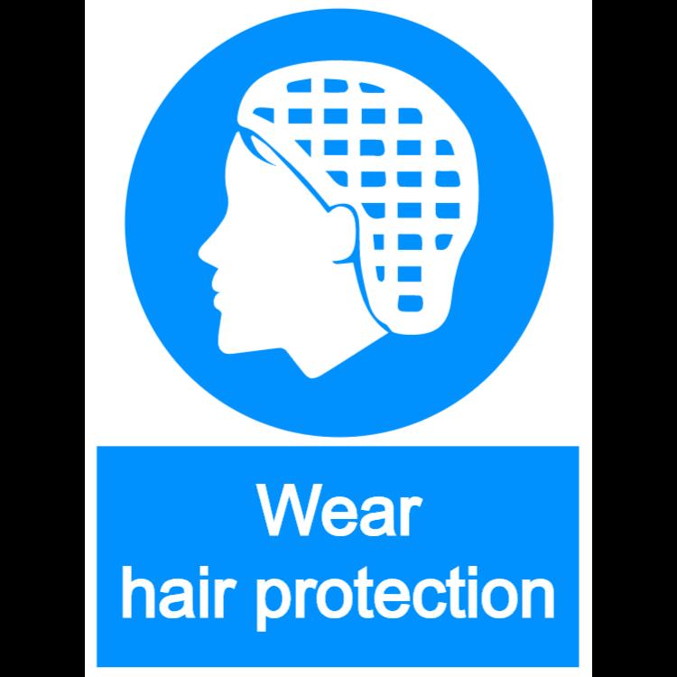 Wear hair protection - portrait sign