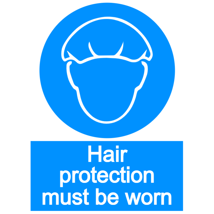 Hair protection must be worn - portrait sign