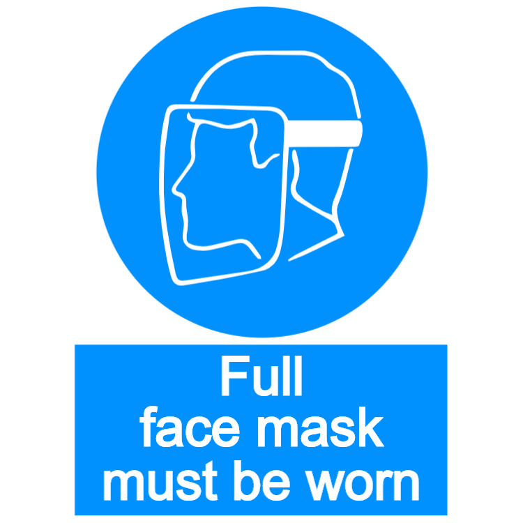 Full face mask must be worn - portrait sign