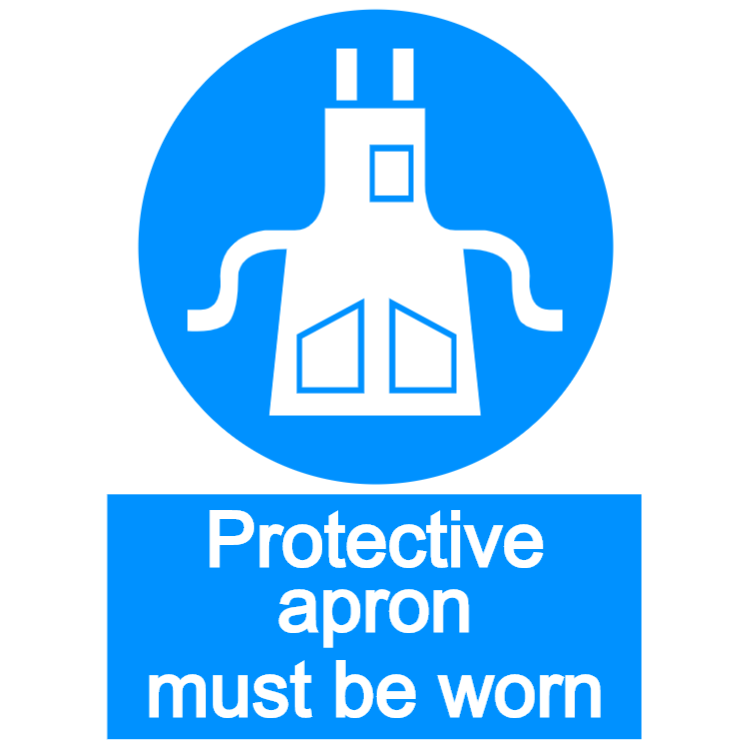 Protective apron must be worn - portrait sign
