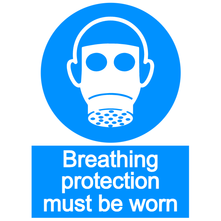Breathing protection must be worn - portrait sign